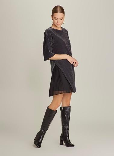 NGSTYLE Simli Piliseli Elbise Siyah